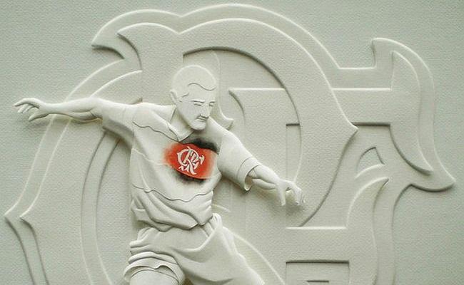 Time do Flamengo em escultura de papel