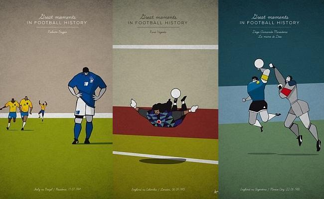 Pôsteres de grandes lances do futebol