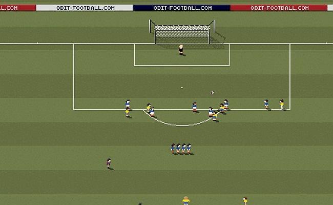 Gol de falta de Roberto Carlos em 8 bits