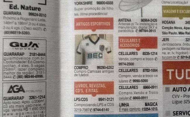 Colecionador procura camisas do Ceará com anúncio em jornal