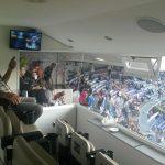O conforto da área VIP do Bernabeu impressionou a Reynaldo Tavares (Foto: Acervo pessoal)