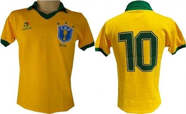 Concorra a camisa retrô do Brasil de 1986