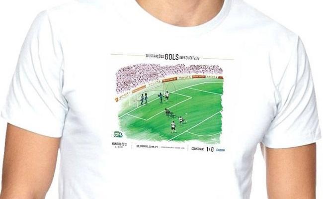 Concorra a camisa com ilustração de gol