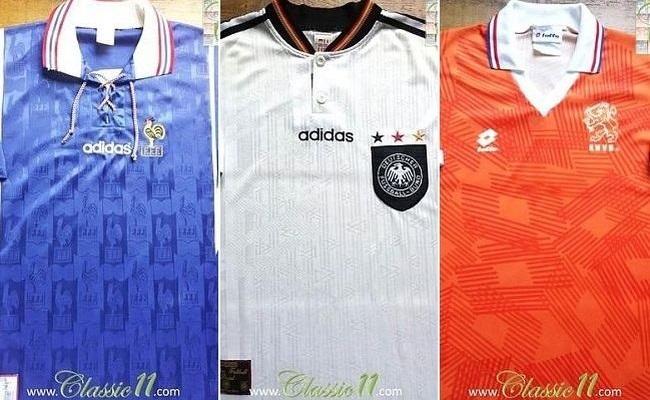 16 camisas clássicas de Euro do Classic 11