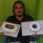 O pintor Renan Luiz, de Manaus, já produziu miniaturas de 15 estádios do Brasil (Foto: Acervo pessoal)