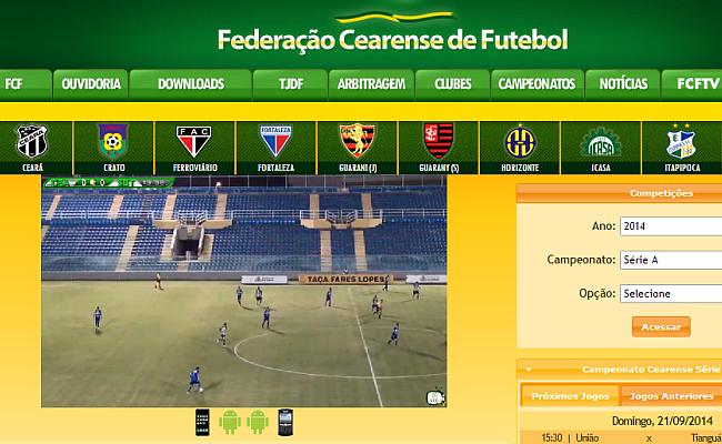 Federação cearense exibe jogos em site