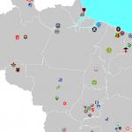 O mapa de Alessandro Arantes reúne os 128 clubes das 4 divisões nacionais (Foto: Bola Amarela FC)