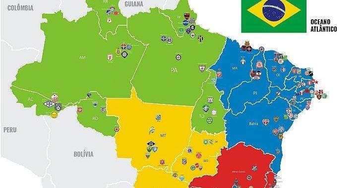 Mais um designer produz mapa do Brasil com escudos de clubes