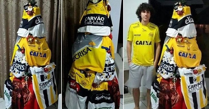 Torcedor do Criciúma monta árvore de Natal com camisas do time