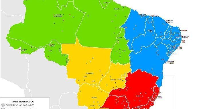 Novo mapa do Brasil com clubes reúne ainda mais escudos: são 503!