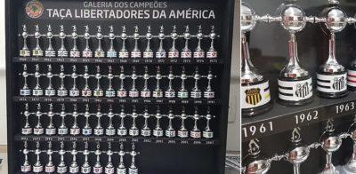 Empresa fabrica quadro decorativo com mini taças dos campeões da Libertadores