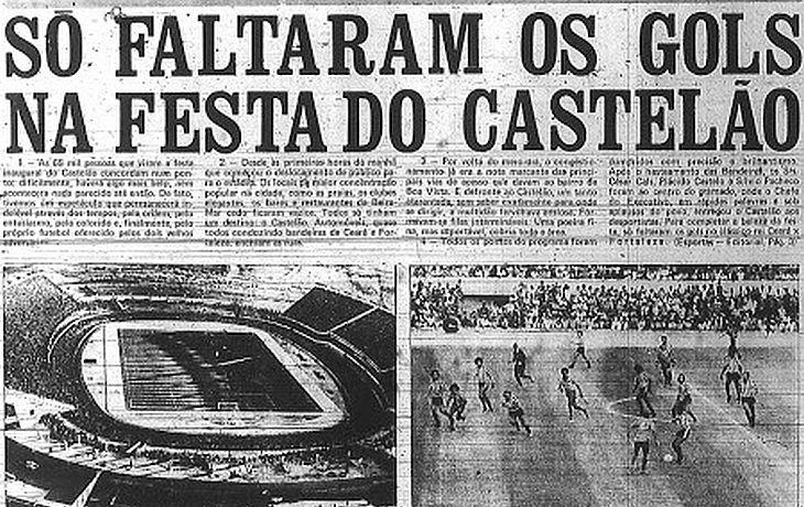 Inauguração do Castelão, em 1973, teve um Clássico-Rei que ficou no 0 a 0 (Foto: Reprodução)