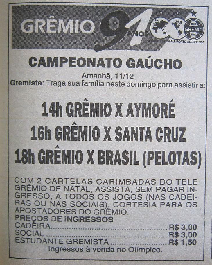 Cartaz da época lançado pelo Grêmio (Foto: Reprodução)