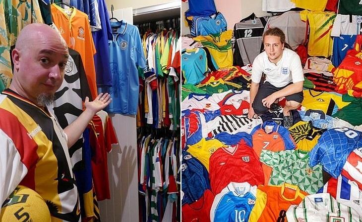 Joe Johnston e Nick Warrick têm camisas de todas as seleções Fifa (Fotos: Reprodução)