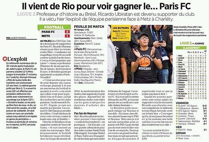 No dia seguinte, Ricardo foi destaque em jornal parisiense (Foto: Reprodução)