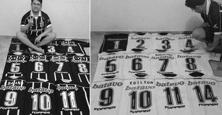 Colecionador de camisas do Corinthians reúne o time completo de 1999