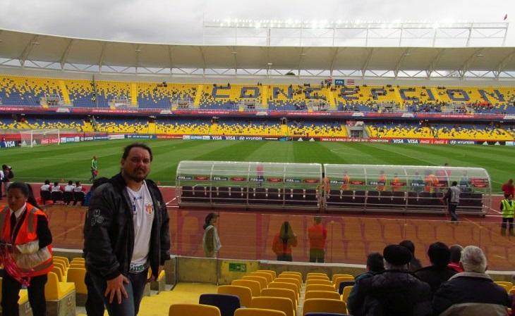Entre os jogos vistos, Coreia do Norte x Rússia, pelo Mundial Sub-17 de 2015, em Concepción (Foto: Acervo pessoal)