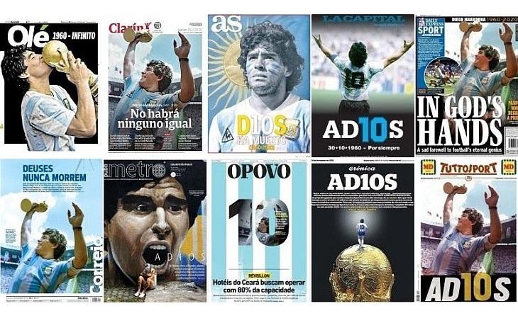 60 capas de jornais do mundo que homenageiam Maradona