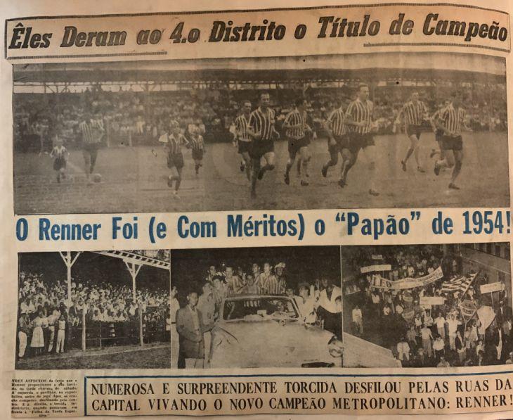 O título gaúcho de 1954 foi a última derrota da dupla Grêmio-Inter até a conquista do Juventude em 1998 (Foto: Reprodução Folha da Tarde)