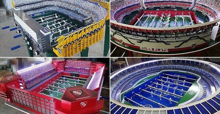 Designer argentino vende mesas de pebolim que reproduzem estádios de futebol