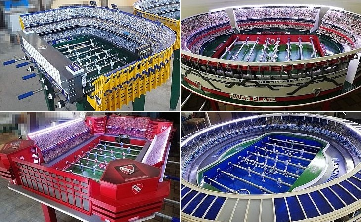 A Superclásico Metegoles já produziu 400 mesas de pebolim, de cerca de 20 estádios (Foto: Divulgação)