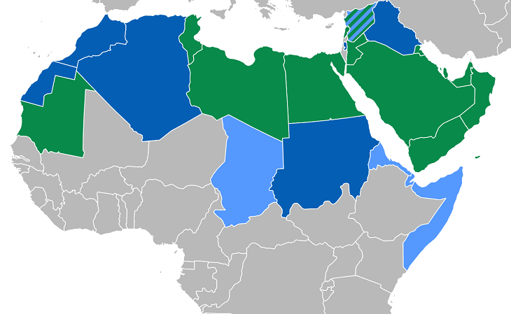 Em verde, os países onde o árabe é a única língua oficial; em azul escuro, onde o árabe é uma língua cooficial, sendo a mais falada; em azul claro, onde o árabe é cooficial, porém, minoritário (Foto: Reprodução)