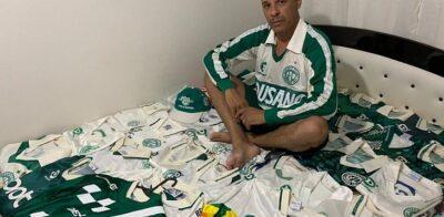 Torcedor do Guarani mantém perfil que exibe coleção de camisas da Era Dellerba